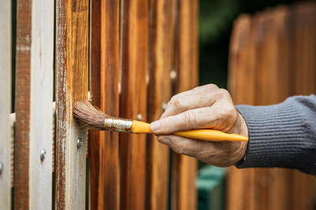 Painting wooden fence by wood stain. Repairing picket fence at backyard