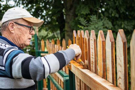 Active senior man painting wooden fence in garden. Old craftsman working at backyard. Repairing picket fence Stock fotó