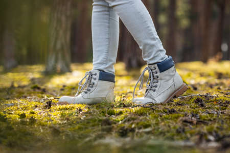 Hiking boots. Hiker walking in woodland. Female legs wearing leather sports shoes outdoors 免版税图像