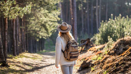Woman with hat and backpack hiking in woodland. Adventure in nature. Female tourist walking in forest alone