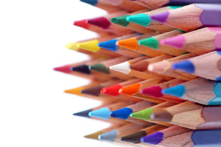 compiled: Colour pencils isolated compiled as pyramid (DOF)