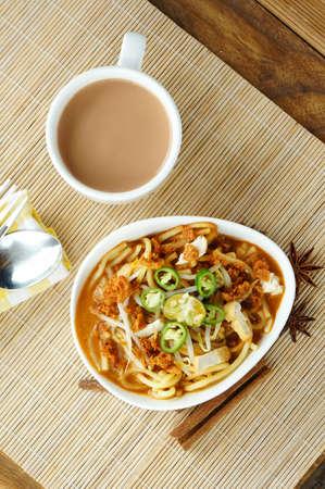 Delicious Asian Mee Rebus con un focus sui prodotti alimentari Archivio Fotografico