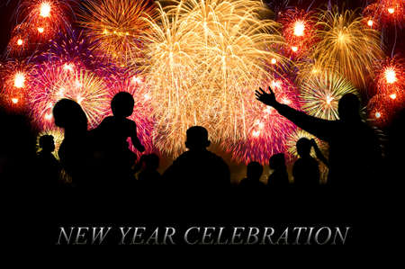 Happy New Year info-text clouds arrangement concept with firework show in the night sky as background Foto de archivo