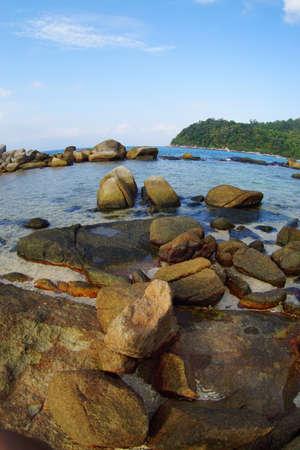 Beautiful sea with rock, tree and blue sky photo