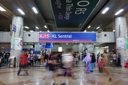 waiting passengers: KL SENTRAL, KUALA LUMPUR-MARCH 21. 2015: Stesen Sentral, Malaysia?s largest transit hub, is Kuala Lumpur?s integrated rail transportation centre.