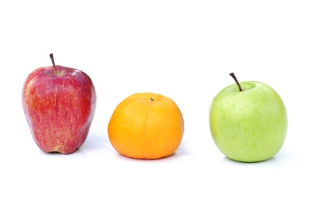 chose: Red Apple,orange and green Apple isolated on white background