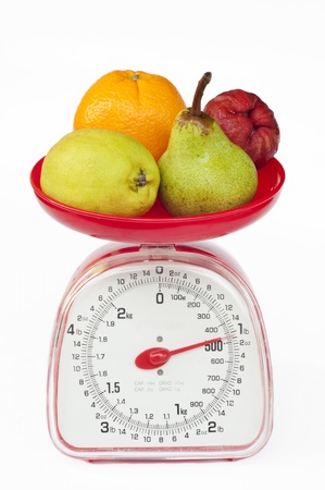 kitchen weight scale with diversity fruit  Stock Photo