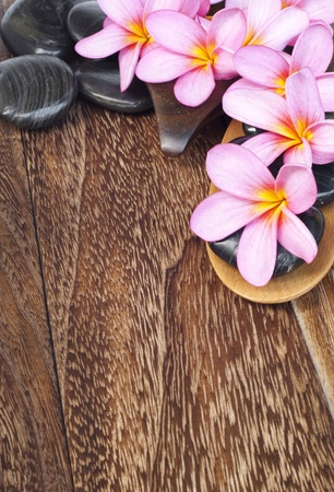 Tropical spa concept with Plumeria flower and pabble stone Stock Photo