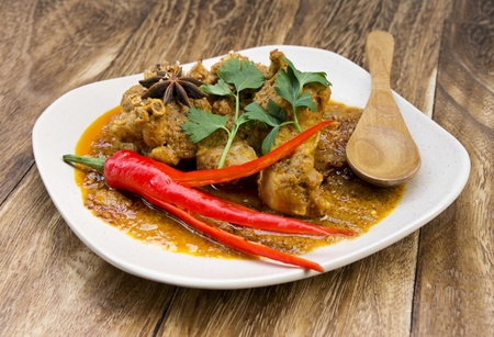 Chicken Rendang or Asian curry. Rendang is popular food in Malay culture during festival and celebration.  photo
