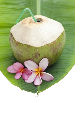 coconut beverage straw cocktail on tender banana leaf isolated  Stock Photo