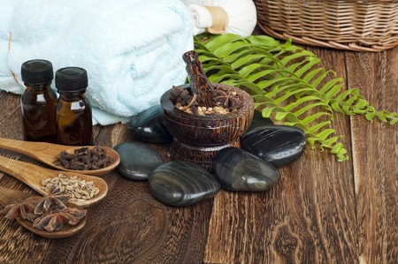 spa concept with herbs