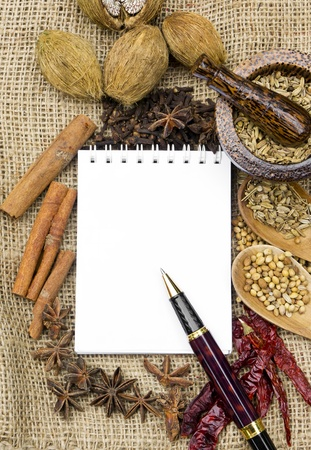open notebook ready for writing recipe with food ingredients  Stock Photo