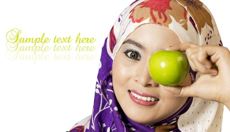 femmes muslim: Une pomme par jour �loigne le m�decin-Sant� concepts Banque d'images
