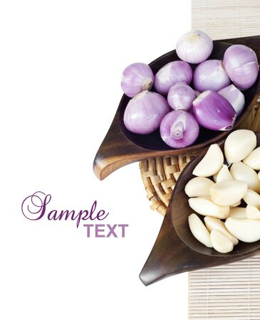 Food ingredient; onion and garlic with text sample Stock Photo
