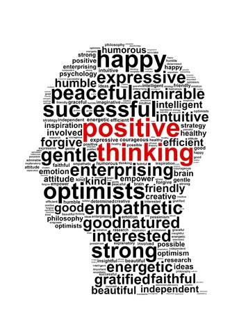 태도: 긍정적 인 생각의 정보를 텍스트 및 그래픽 흰색 배경에 배치 개념