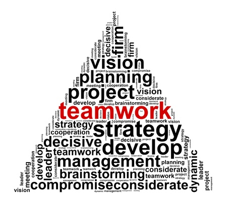 project management: Teamwork info text graphic and arrangement concept on white background Stock Photo