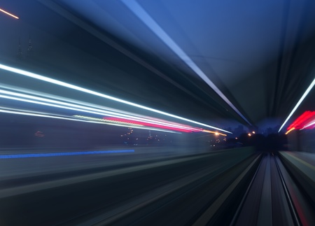 Colorful abstract blurred speed motion view in tunnel