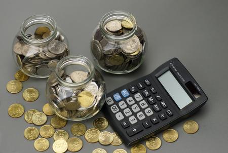savings money with calculator. financial concept Stock Photo