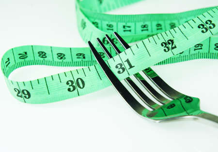 fork and measuring tape isolated by white background