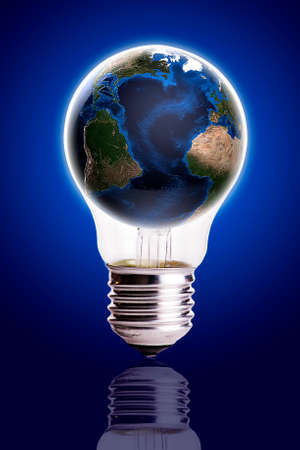 electro world: Bulb with globe blue black gradient background,Earth Map and Globe shape courtesy of NASA  Stock Photo