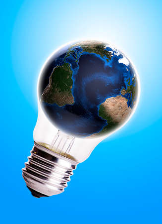 electro world: Bulb with globe blue gradient background,Earth Map and Globe shape courtesy of NASA  Stock Photo