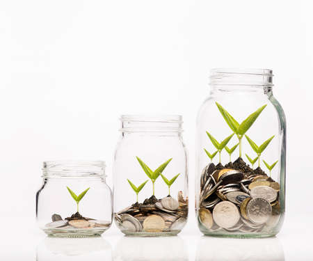 Investment growth concept,Hand putting Golden coins and seed in clear jar over white background