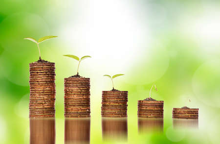 Financial down turn concept,Golden coins in soil with young plants showing to financial investment crisis