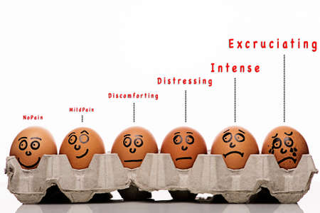 head pain: Pain intensity scale concept with text funny and eggs characters over white background