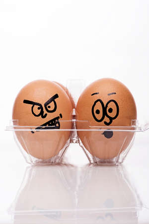 image of angry and afraid easter eggs photo