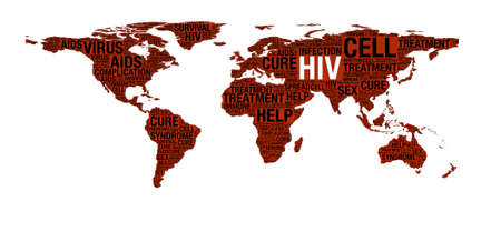 HIV or AIDS concept on world map illustration over white illustration