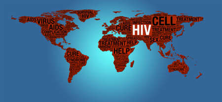 HIV or AIDS concept on world map illustration illustration