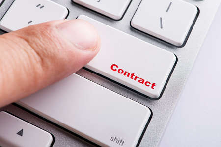 Close up white keyboard button conceptual-Contract