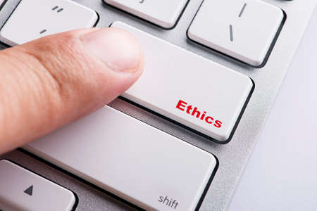 Close up white keyboard button conceptual-Ethics