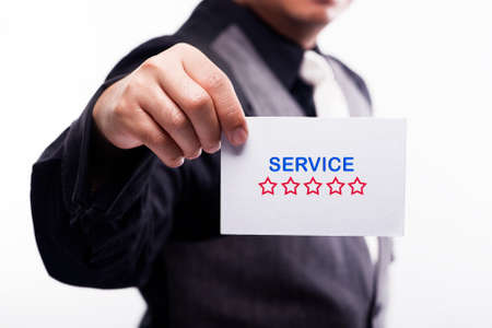communicative: young executive holding card written service level