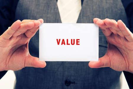 valor: tarjeta de la explotación agrícola del ejecutivo con Mensaje Decir-Valor Foto de archivo