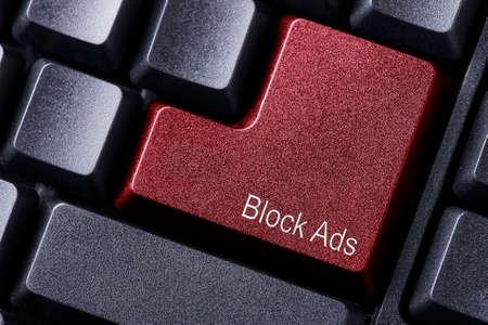 Block Ads written on keyboard button