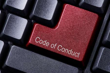 fermer rouge touche enter code de conduite Banque d'images