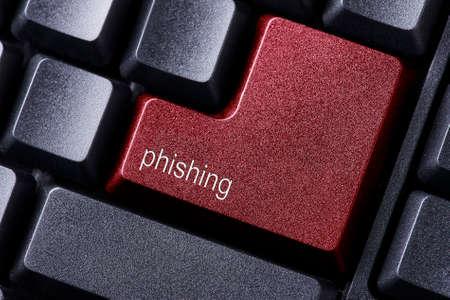 enter button: close up red enter button written phishing