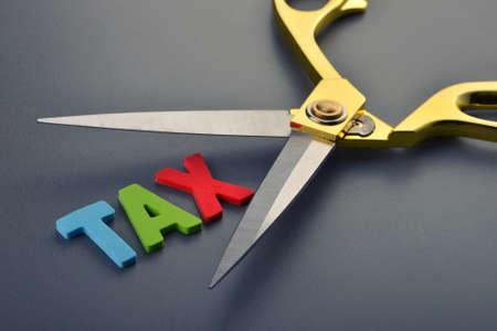 tijeras: Concepto de impuestos, las tijeras y el alfabeto sobre fondo gris