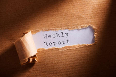 weekly: ripped paper with word weekly report