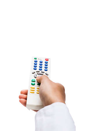 Hand press remote over white background
