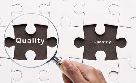 quantity: Magnifying glass searching missing puzzle peaces quantity and quality