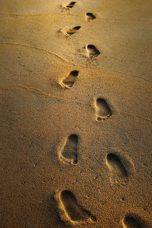 Footprints on the wet sand