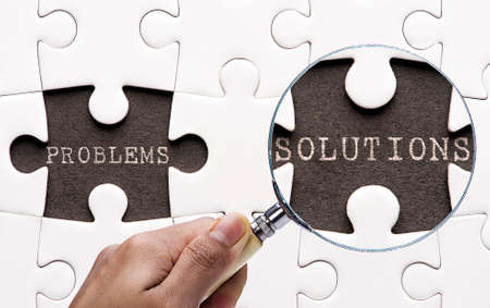 problem solution: Magnifying glass searching missing puzzle peaces problem and solution