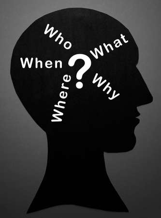 mindmap: Who,What,Where,When ,Why and question mark in Mind Stock Photo