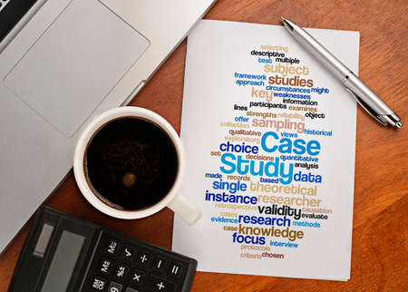 causation: CASE STUDY word cloud arrangement Notebook with text vision on table with coffee, calculator and notebook