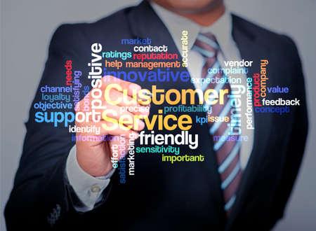 communicative: Customer Service word cloud arrangement, Executive as a background