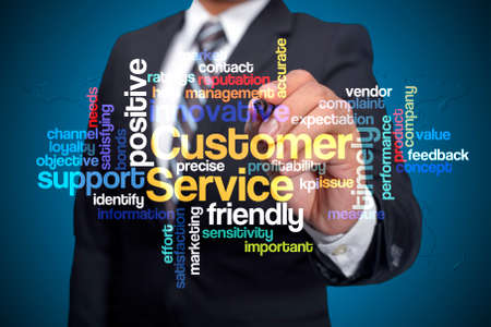 communicative: Customer Service word cloud arrangement, Executive as a background