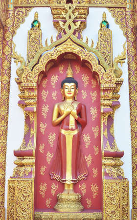 Buddha image with sleeping patterns at the old temple. Chiang Rai Thailand