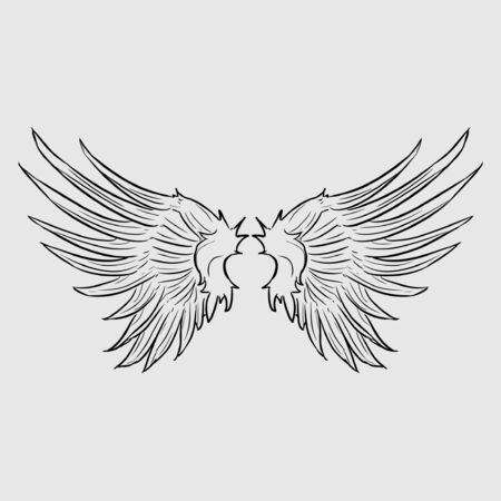 Two wings of bird icon in flat style isolated on white background. Vetores
